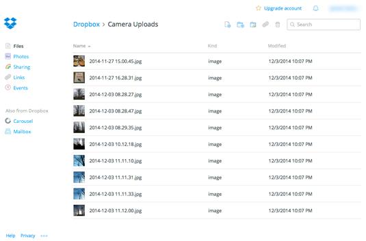 Figure 1: Viewing Camera Uploads.