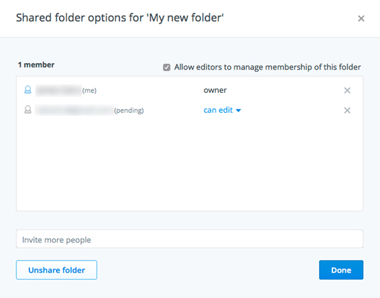 Figure 2: Manage shared folder options.