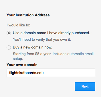 Figure 1: Setting up your domain.