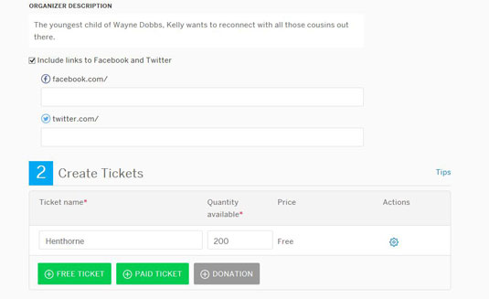 The eventbrite administrator allows you to link your social media accounts to an event.