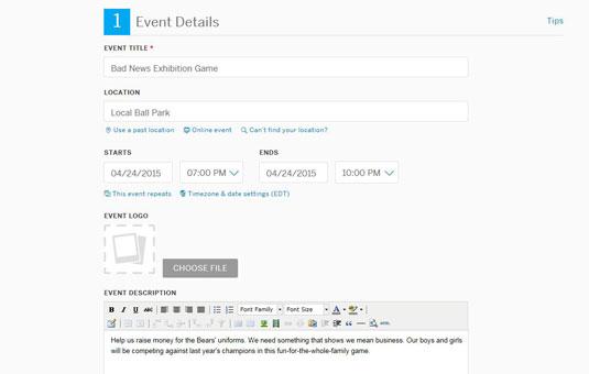 Event details in Eventbrite.com