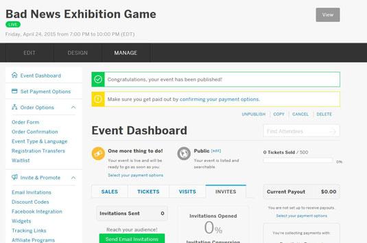 Eventbrite's event dashboard.