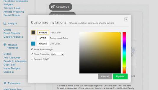 The customize invitation dialog box in Eventbrite.