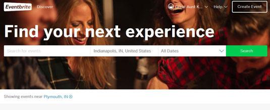 The event search box in the Eventbrite website.