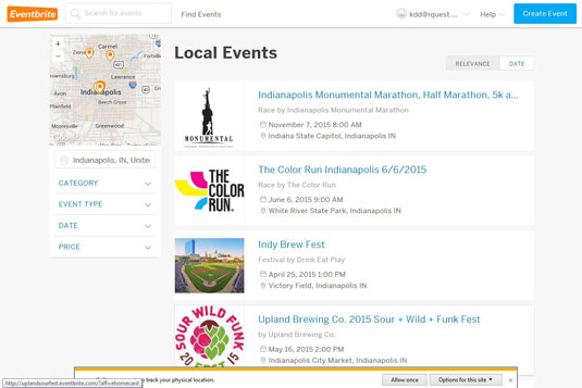 On Eventbrite, you can view a list of events taking place around a specific location.