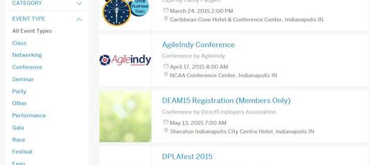 Eventbrite's event search screen
