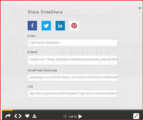 All of the options to share a SlideShare online.