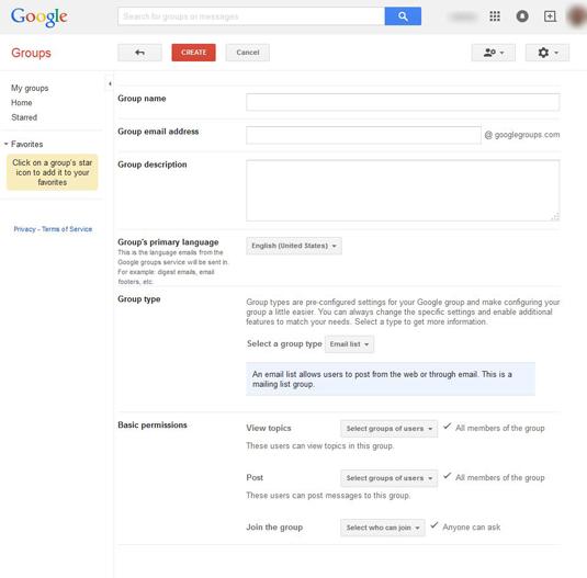 Figure 1: Set up a new Google group.