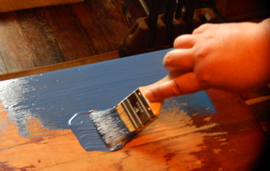 Paint your furniture with a chip brush.