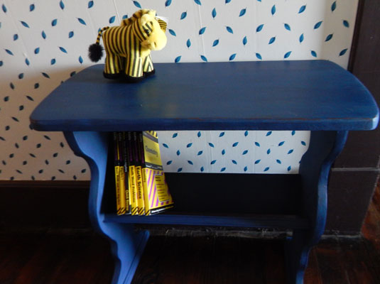 A Blue Table Painted With Chalk Paint.