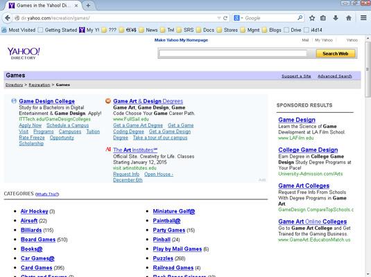 Yahoo Directories.