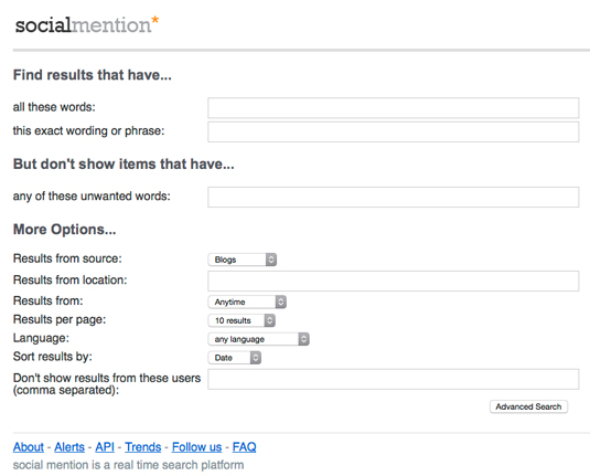 Figure 1: Social Mention advanced search.
