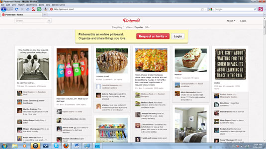 The Pinterest home page.