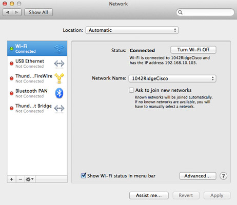 The network dialog box on a Mac.