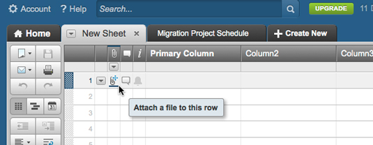 Figure 1: Attaching a file to a row.