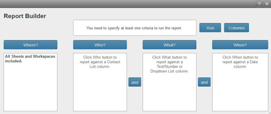 Figure 1: The Report Builder dialogue box.