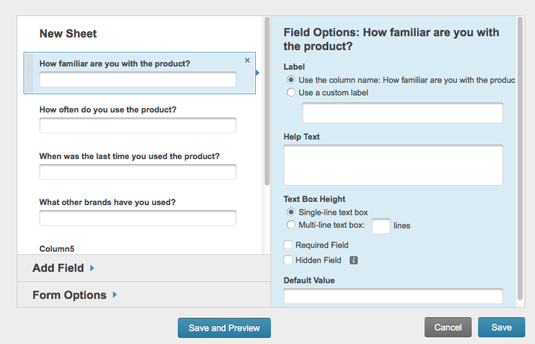 Figure 2: Modifying web form options.