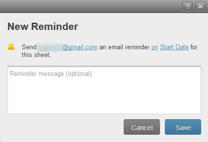 Figure 2: Set a new reminder in Smartsheet.