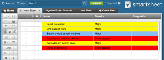 Figure 2: A color-coded project issues list.