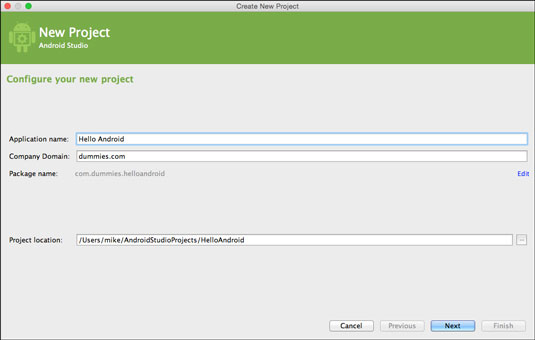 The Create New Project Wizard in Android Studio