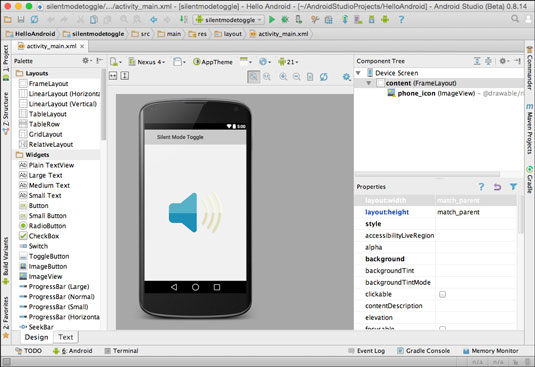 Previewing an Android App in Visual Designer.