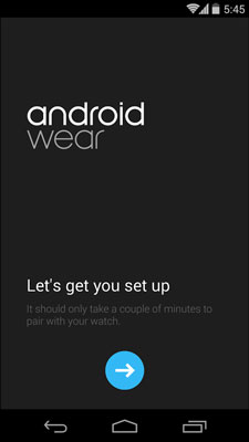The Android Wear welcome screen.