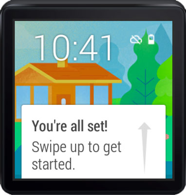 Home screen on the Android Wear