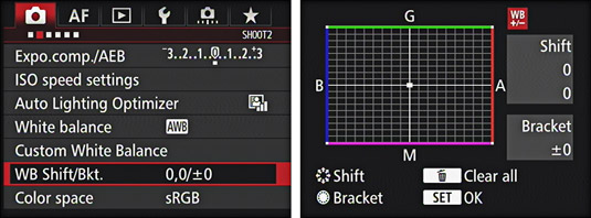 The WB shift option in a Canon's shooting menu.