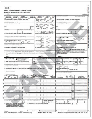 The HCFA/CMS‐1500 form.