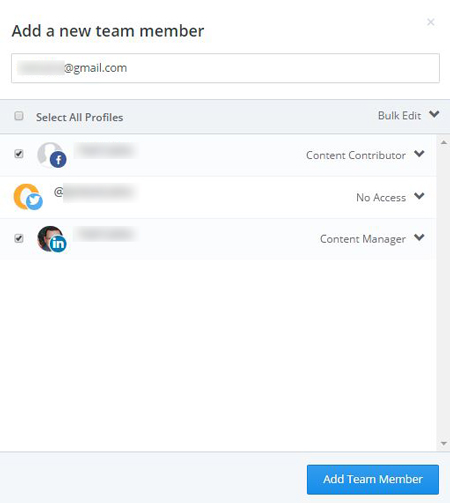 Figure 1: Adding a new team member to your Buffer accounts.