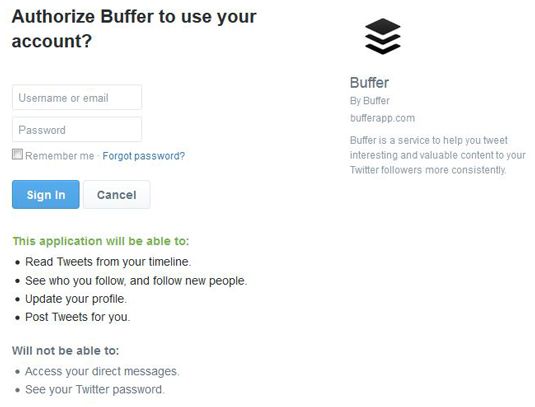 Figure 1: Allow Buffer to connect to your accounts.