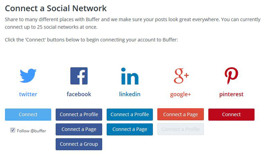 Figure 2: Connect Buffer to other social media accounts.