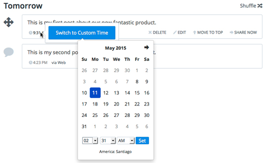 Figure 1: Click Switch to Custom Time to bring up the date and time selector.