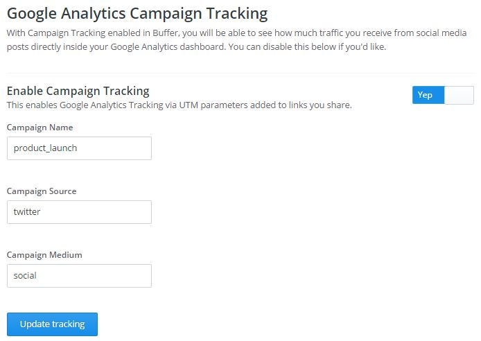 Figure 1: Setting up Google Analytics campaign tracking in Buffer.