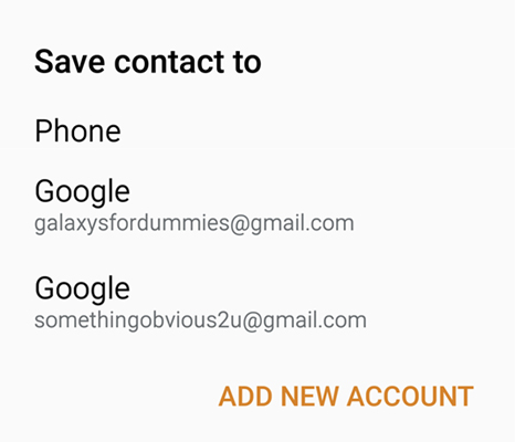 You can choose where you want to save your contact on the Save Contact To window.