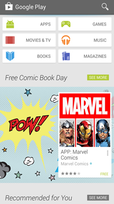 The Play store home screen with recommendations for users.