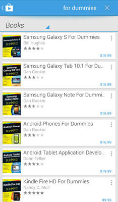 Search results displayed in the play store.