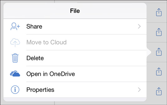 Tap the File icon and choose Delete to delete a file.