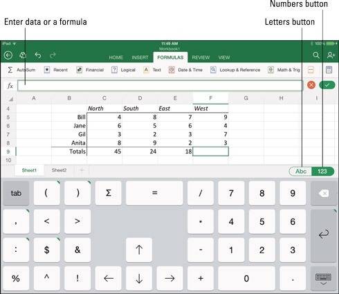 How to Enter and Edit Excel Data on the iPad - dummies
