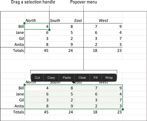 Selecting a range of cells on the Excel iPad app.