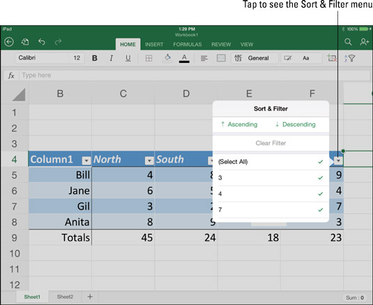 After you corral data into a table, you can sort and filter the information.