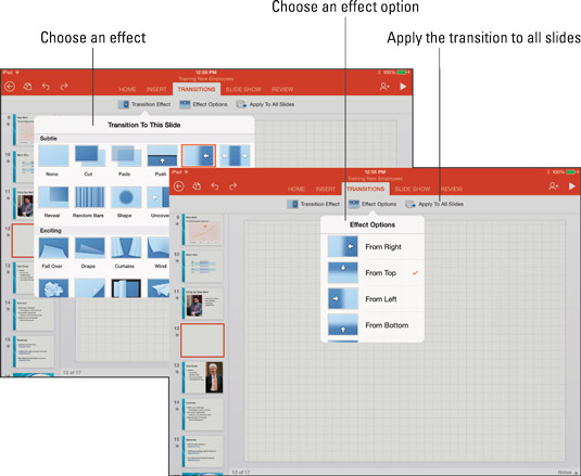 Apply a transition to one slide or all slides.