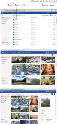 The OneDrive window in Details view (top), Thumbnails view (middle), and Thumbnails view with the D