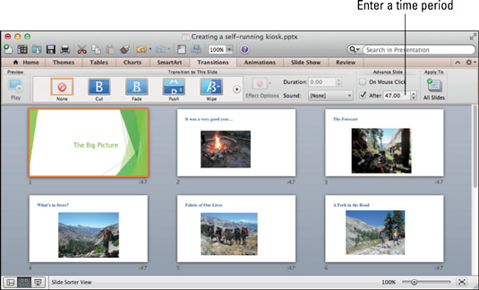 Enter how long you want each slide or all the slides to remain onscreen.