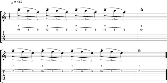 Tapping the pentatonic scale.