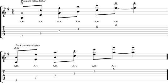 Tracing chord shapes with plucked harmonics.