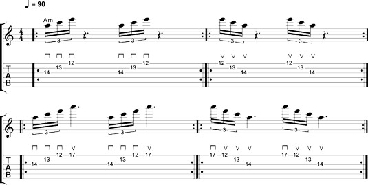 Sweep arpeggios in A minor.