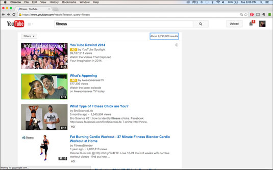 How YouTube video metadata shows up in search.
