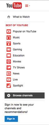 The Browse Channels menu option.