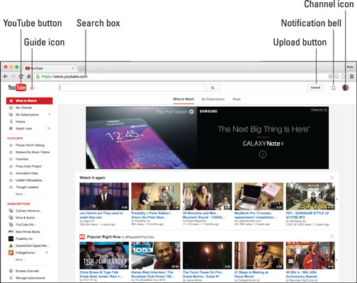 The logged‐in YouTube home page.
